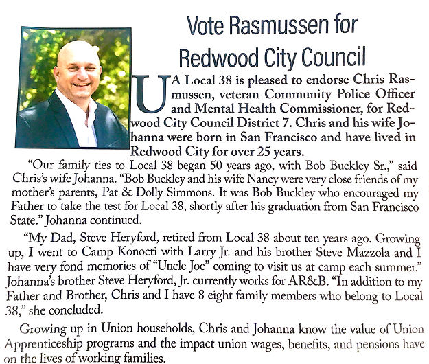 UA Local 38 Pipelines Rasmussen Endorsement