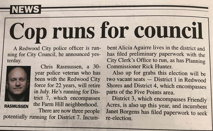 Palo Alto Daily Post Rasmussen Cop Runs for Council