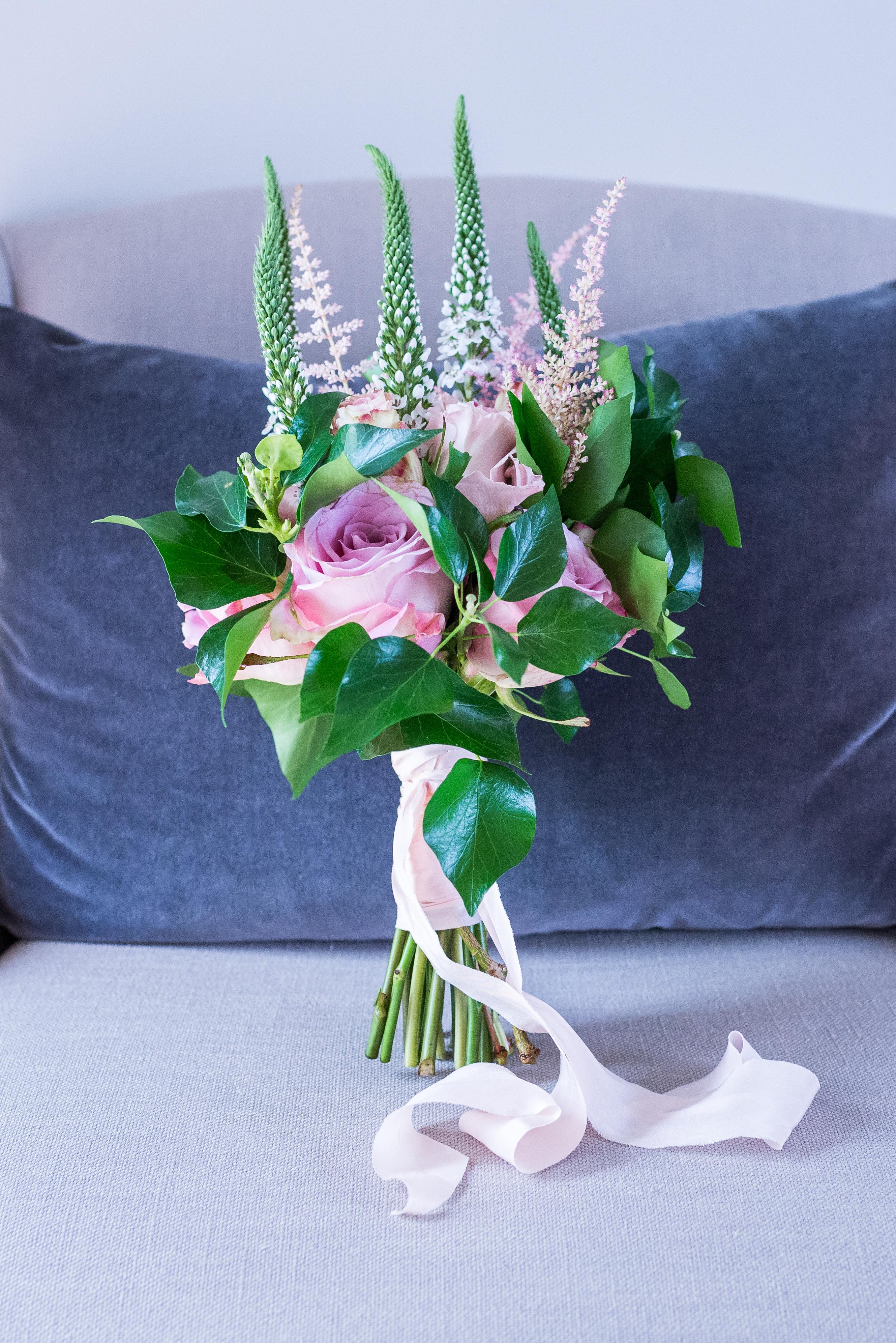 Bridal bouquet of Faith, Mentha and Upper Secret roses