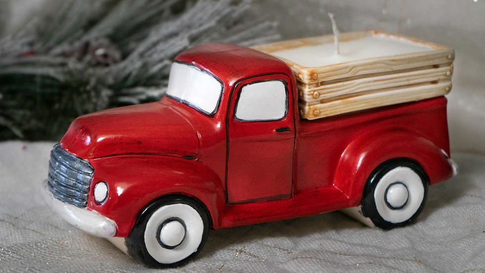 Vintage  Red Truck Hand Painted