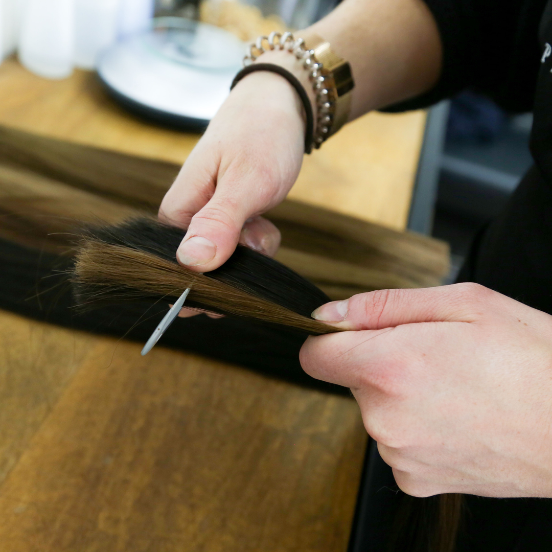 Hand blending hair extensions