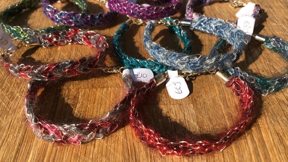 Crochet Wire and Yarn Braided Bracelets