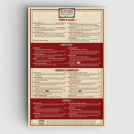 Altitude Bar & Grill Menu Design