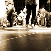 sepia image of a dance party with salsa dancers