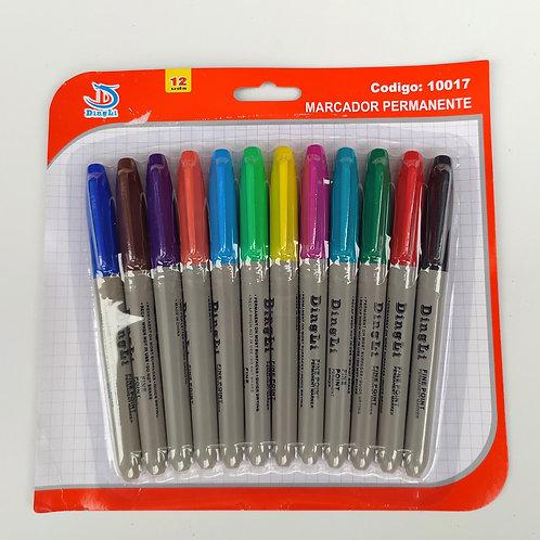 Marcadores permanentes básicos 12 colores