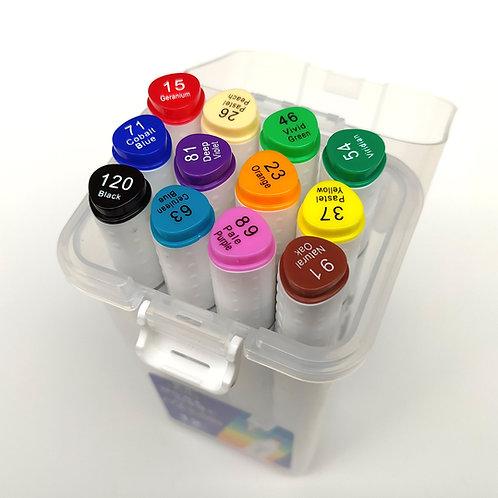 Marcadores permanentes doble punta 12 colores