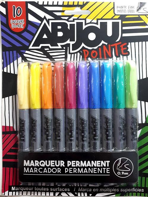 Set de 10 marcadores permanentes marca Abijou