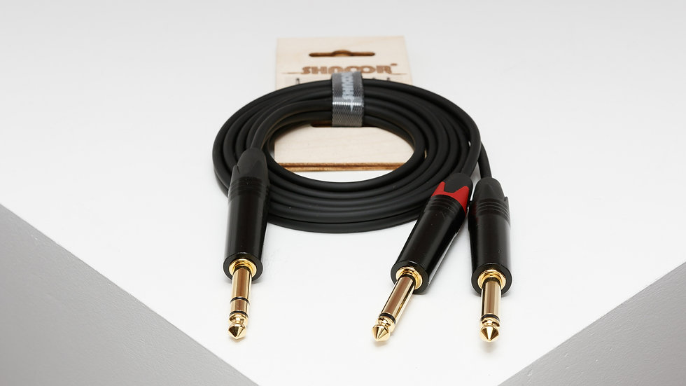 JS2JM unbalanced split-cable with 6,3mm TRS jack and 2 x 6,3mm TS jack