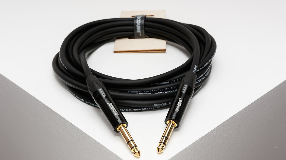 JSJS-B balanced cable with staright black 6,3 mm TRS jack connectors