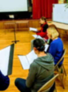 Audition with The Collegium Ladyes; Ladyes rehearsing music