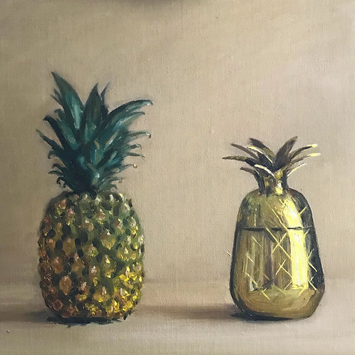 Pineapple, two ways. Oil on canvas covered board.  SOLD