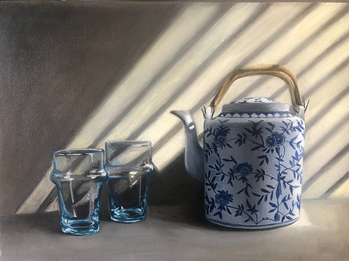 Time for Tea. Oil on canvas covered board. 30x40cm