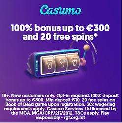 casumo welcome bonus free spin