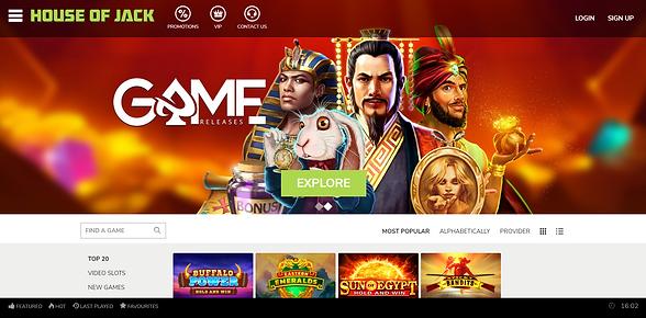 House of Jack Casino Homepage