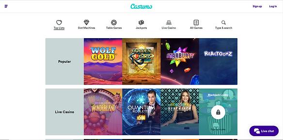 Casumo Casino Homepage