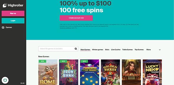 HighRoller Casino Homepage