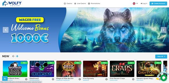 Wolfy Casino Homepage