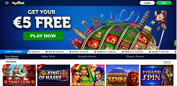 WinsPark Casino Homepage
