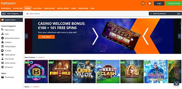 betsson Casino Homepage
