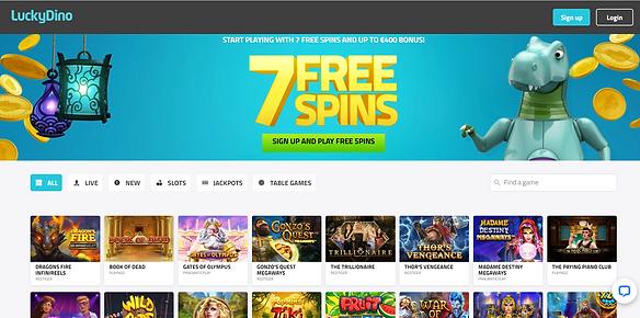 LuckyDino Casino Homepage