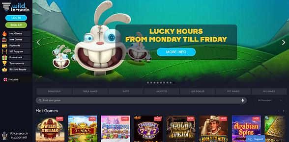Wild Tornado Casino Homepage