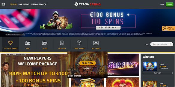 Trada Casino Homepage