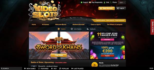 Videoslots Casino Homepage