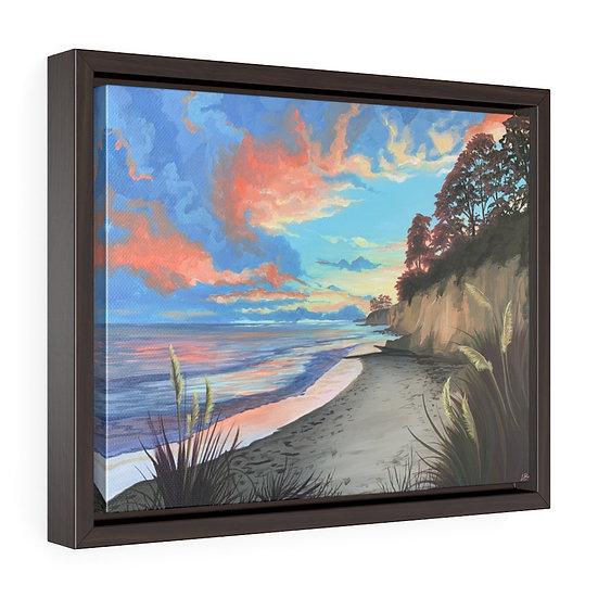 New Brighton Beach Sunset, Santa Cruz - Framed Premium Gallery Wrap Canvas