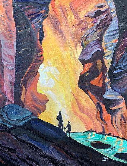 Hiking at Zion National Park - Giclée Art Print