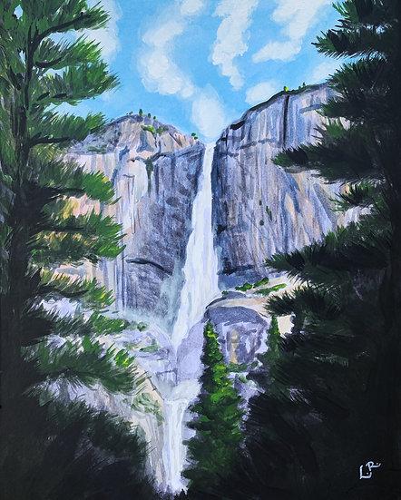 Yosemite Upper and Lower Falls, Yosemite - Giclée Art Print
