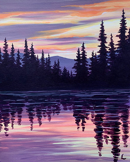 Evergreen Reflections Original Painting