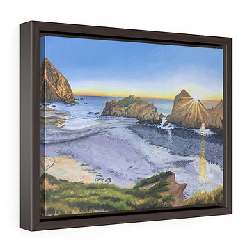 Big Sur Beach at Sunset - Framed Premium Gallery Wrap Canvas