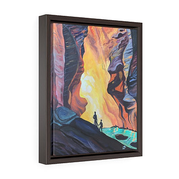 Hiking at Zion National Park - Framed Premium Gallery Wrap Canvas
