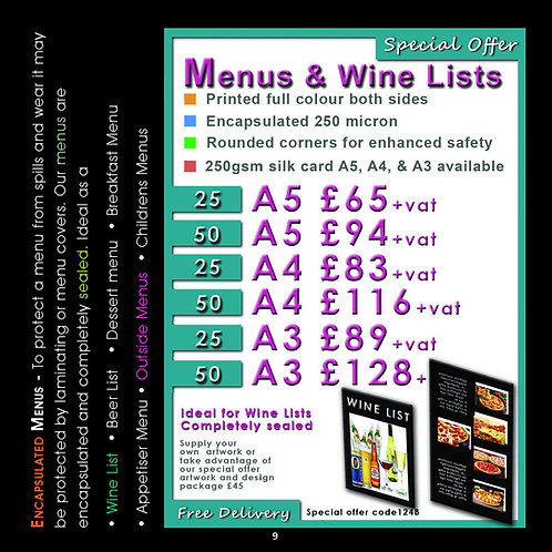 50 A4 Menus or Wine Lists Printed & Encapsulated.