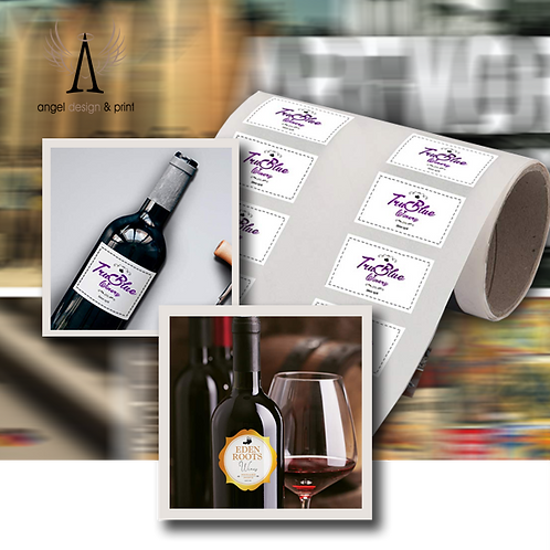 100 Mini Wine Bottle Labels, 51mm W x 76mm H  printed full colour