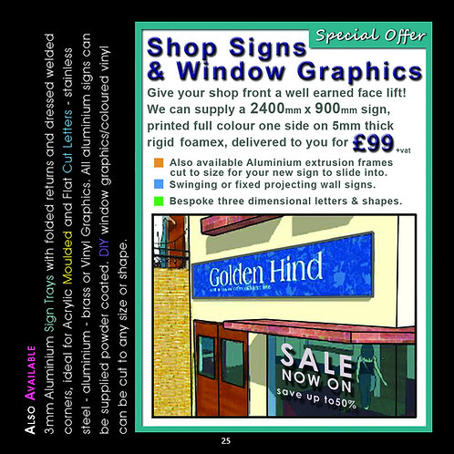 Shop Front Sign 2400mm x 900mm Full Colour Print on Foamex