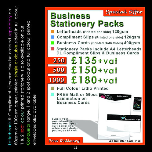 500 Stationery Pack, 500-Letterheads 500-Compliment slips 500-Business cards