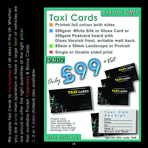 10,000 Taxi Cards Printed full colour both sides