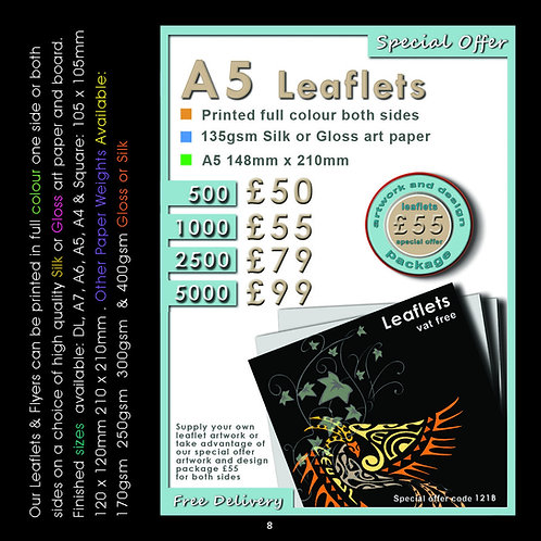 2500 A5 Leaflets Printed full colour both sides