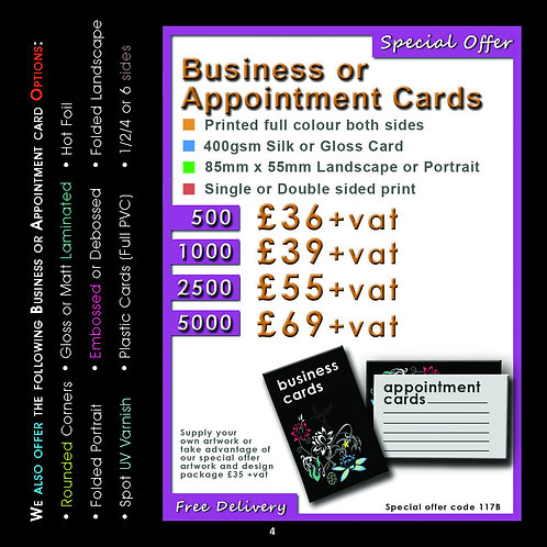 1000 Business Cards Printed Full Colour Both Sides