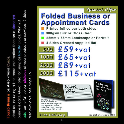 5000 Folded Business Cards Printed Full Colour Both Sides