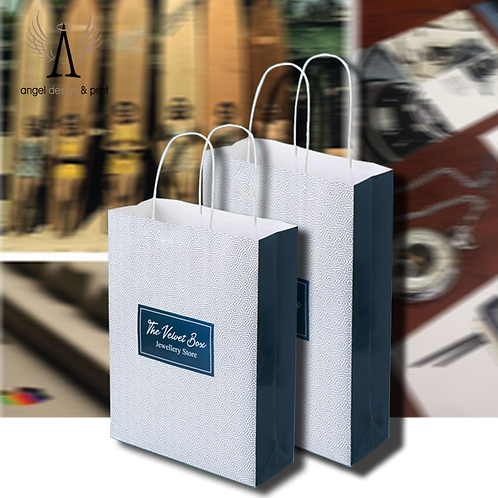 1000 Twist Handle Paper Bags, 240mm W x90mm D x 240mm H printed full colour