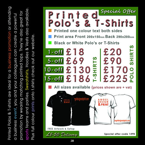 1 pack 5 Printed Polo Shirts One colour text both sides