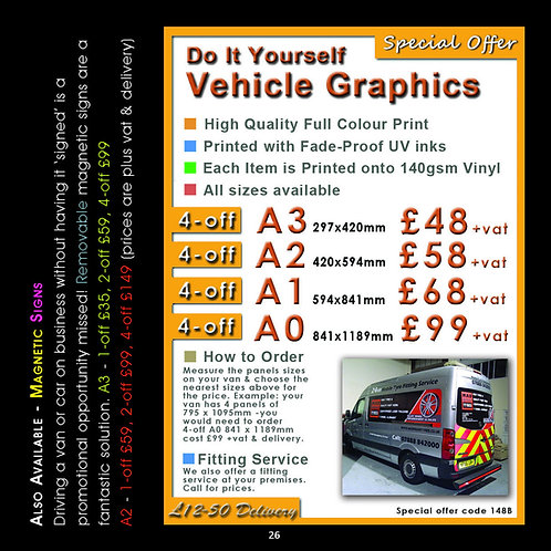 Vehicle Graphics A2 Full colour printed vinyl DIY