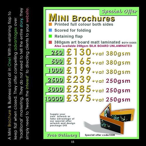250 Mini Brochure Folded Business Cards 450gsm.