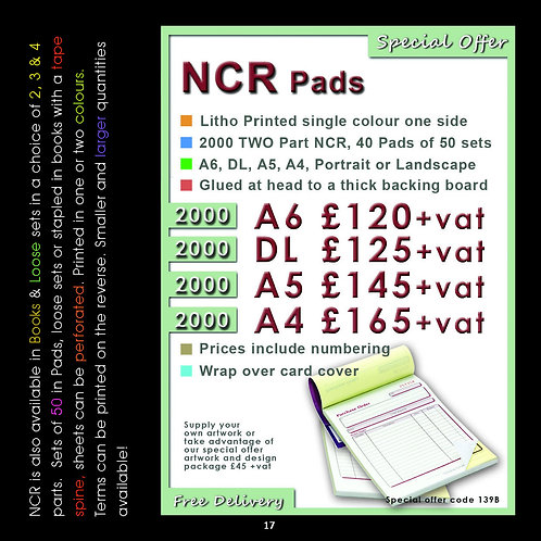 2000 DL NCR, 40 Pads, 2 part, Single colour print.