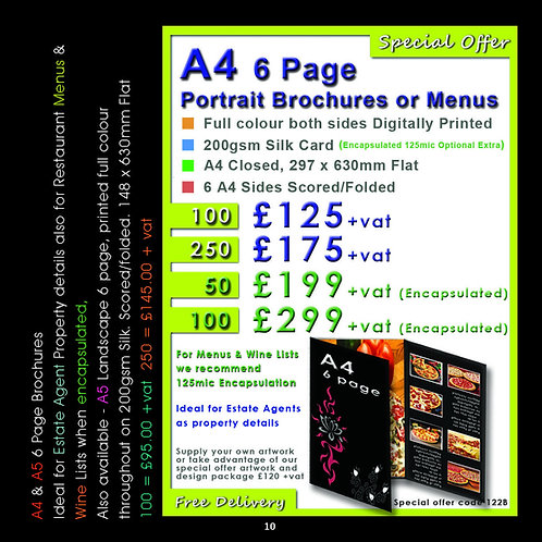 100 A4 6 Page Portrait Brochures or Menus