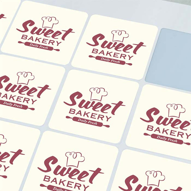 45x45mm  square gloss vinyl stickers by