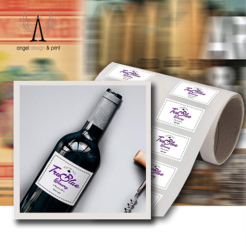 250 Small Wine Bottle Labels, 89mm W x 102mm H  printed full colour