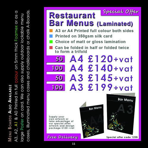 100 A3 Folded to A4 Restaurant/Bar Menus (Laminated)